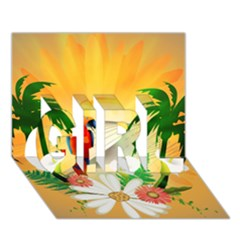 Cute Parrot With Flowers And Palm GIRL 3D Greeting Card (7x5)