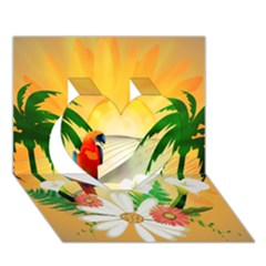 Cute Parrot With Flowers And Palm Heart 3D Greeting Card (7x5)