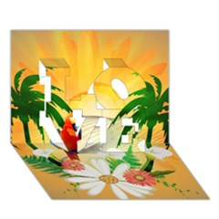 Cute Parrot With Flowers And Palm LOVE 3D Greeting Card (7x5)