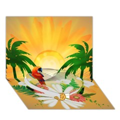 Cute Parrot With Flowers And Palm Heart Bottom 3D Greeting Card (7x5)