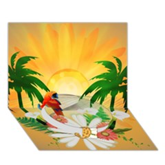 Cute Parrot With Flowers And Palm Circle Bottom 3d Greeting Card (7x5)