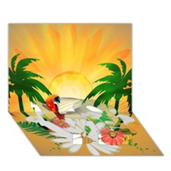 Cute Parrot With Flowers And Palm LOVE Bottom 3D Greeting Card (7x5)