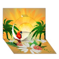 Cute Parrot With Flowers And Palm Circle 3D Greeting Card (7x5)