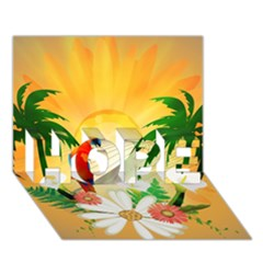 Cute Parrot With Flowers And Palm Hope 3d Greeting Card (7x5)