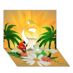 Cute Parrot With Flowers And Palm Ribbon 3D Greeting Card (7x5)