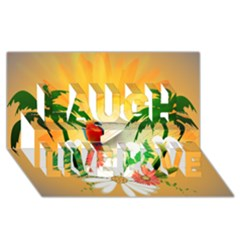 Cute Parrot With Flowers And Palm Laugh Live Love 3d Greeting Card (8x4)