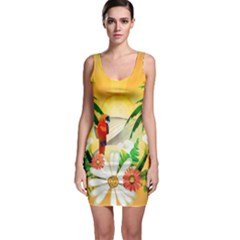 Cute Parrot With Flowers And Palm Bodycon Dresses