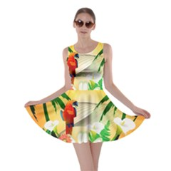 Cute Parrot With Flowers And Palm Skater Dresses