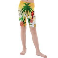 Cute Parrot With Flowers And Palm Kid s swimwear