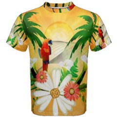 Cute Parrot With Flowers And Palm Men s Cotton Tees
