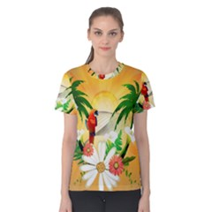 Cute Parrot With Flowers And Palm Women s Cotton Tees