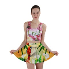 Cute Parrot With Flowers And Palm Mini Skirts