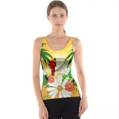 Cute Parrot With Flowers And Palm Tank Tops