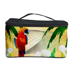 Cute Parrot With Flowers And Palm Cosmetic Storage Cases