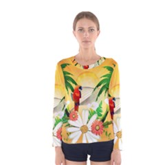 Cute Parrot With Flowers And Palm Women s Long Sleeve T-shirts