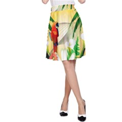 Cute Parrot With Flowers And Palm A-Line Skirts