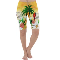 Cute Parrot With Flowers And Palm Cropped Leggings