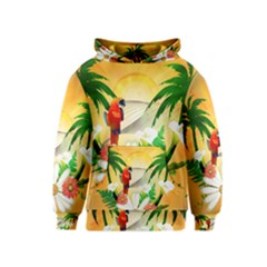 Cute Parrot With Flowers And Palm Kid s Pullover Hoodies