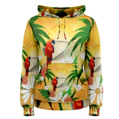 Cute Parrot With Flowers And Palm Women s Pullover Hoodies