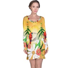 Cute Parrot With Flowers And Palm Long Sleeve Nightdresses