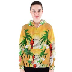 Cute Parrot With Flowers And Palm Women s Zipper Hoodies