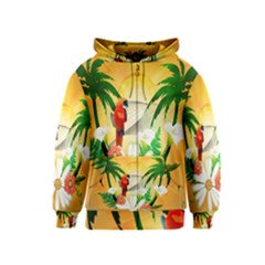 Cute Parrot With Flowers And Palm Kids Zipper Hoodies