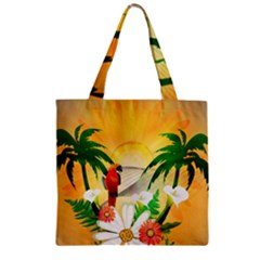 Cute Parrot With Flowers And Palm Zipper Grocery Tote Bags