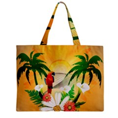 Cute Parrot With Flowers And Palm Zipper Tiny Tote Bags