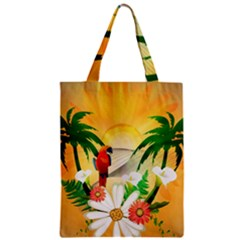 Cute Parrot With Flowers And Palm Zipper Classic Tote Bags