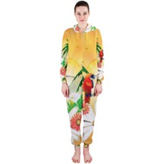 Cute Parrot With Flowers And Palm Hooded Jumpsuit (ladies)