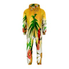Cute Parrot With Flowers And Palm Hooded Jumpsuit (kids)