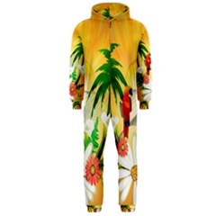 Cute Parrot With Flowers And Palm Hooded Jumpsuit (Men)