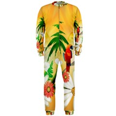 Cute Parrot With Flowers And Palm OnePiece Jumpsuit (Men)