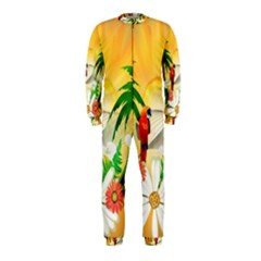 Cute Parrot With Flowers And Palm OnePiece Jumpsuit (Kids)