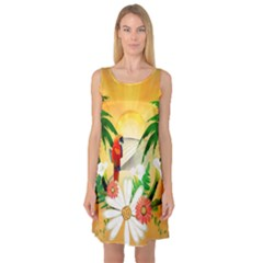 Cute Parrot With Flowers And Palm Sleeveless Satin Nightdresses