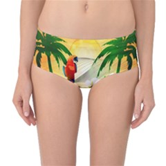 Cute Parrot With Flowers And Palm Mid-Waist Bikini Bottoms