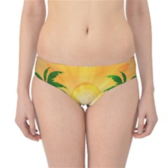 Cute Parrot With Flowers And Palm Hipster Bikini Bottoms