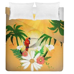 Cute Parrot With Flowers And Palm Duvet Cover (full/queen Size)