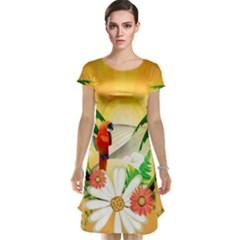 Cute Parrot With Flowers And Palm Cap Sleeve Nightdresses