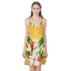 Cute Parrot With Flowers And Palm Camis Nightgown