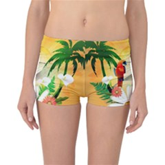 Cute Parrot With Flowers And Palm Reversible Boyleg Bikini Bottoms