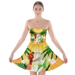 Cute Parrot With Flowers And Palm Strapless Bra Top Dress