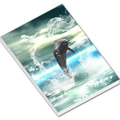 Funny Dolphin Jumping By A Heart Made Of Water Large Memo Pads