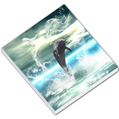 Funny Dolphin Jumping By A Heart Made Of Water Small Memo Pads