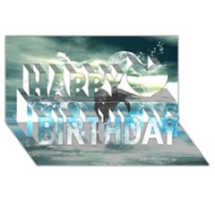 Funny Dolphin Jumping By A Heart Made Of Water Happy Birthday 3D Greeting Card (8x4)