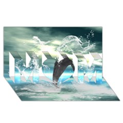 Funny Dolphin Jumping By A Heart Made Of Water MOM 3D Greeting Card (8x4)