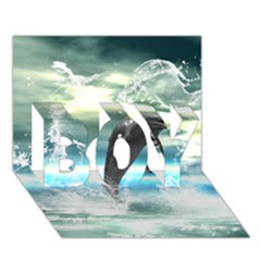 Funny Dolphin Jumping By A Heart Made Of Water Boy 3d Greeting Card (7x5)