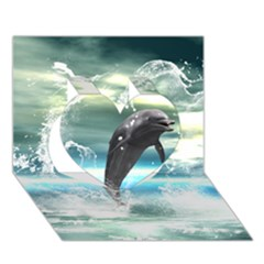 Funny Dolphin Jumping By A Heart Made Of Water Heart 3d Greeting Card (7x5)