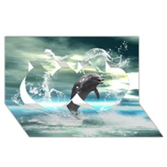 Funny Dolphin Jumping By A Heart Made Of Water Twin Hearts 3D Greeting Card (8x4)