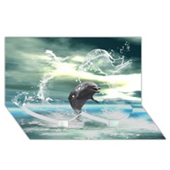 Funny Dolphin Jumping By A Heart Made Of Water Twin Heart Bottom 3d Greeting Card (8x4)